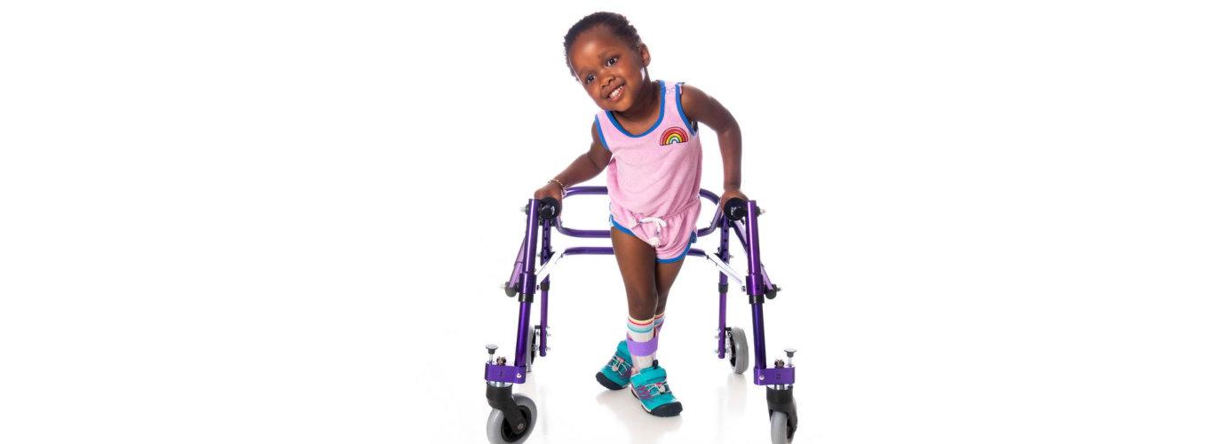 little kid on walker